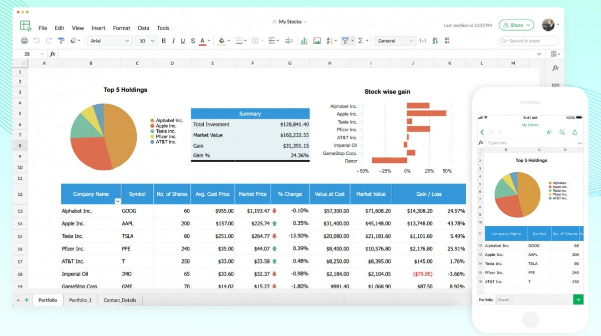 Zoho Office Sheet spreadsheet