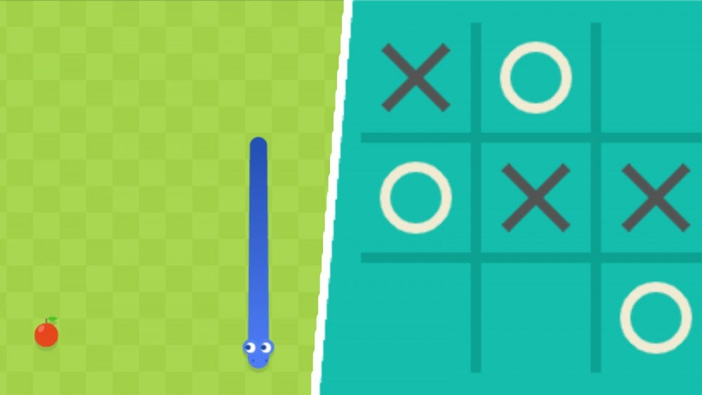 Screenshots of Google's Snake game and Tic-Tac-Toe