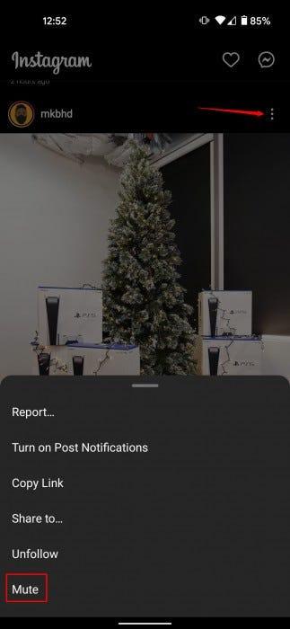 A screenshot showing the menu and mute functions on Instagram