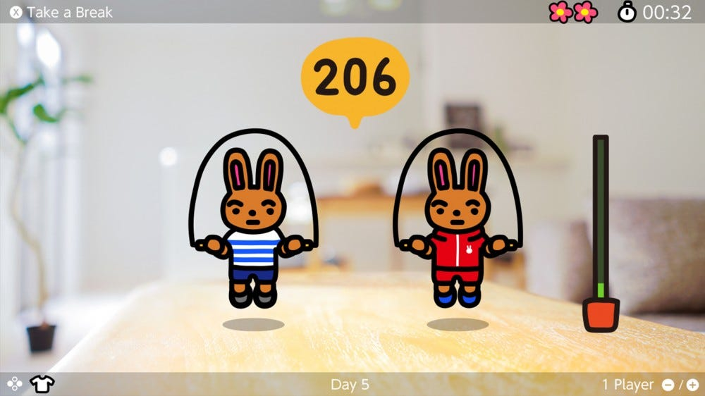 Two video game bunnies jumping a rope while counting to 206.