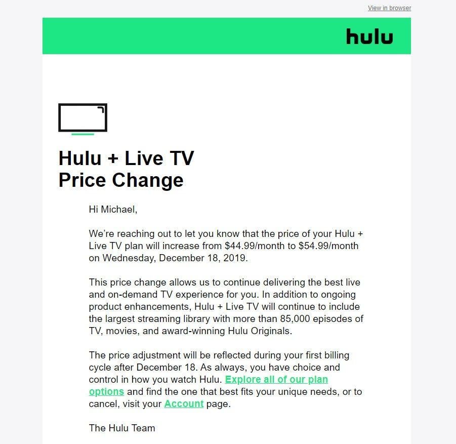a screenshot of a Hulu email