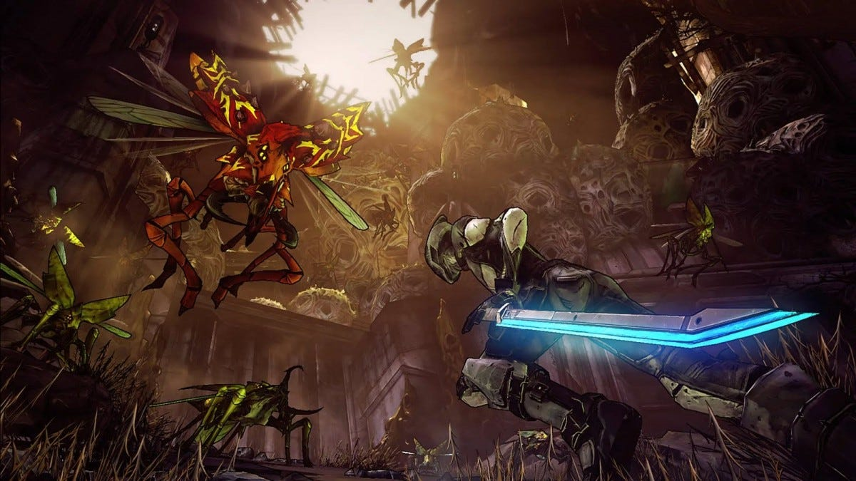The Zer0 vault character fighting off large insect-like monsters.