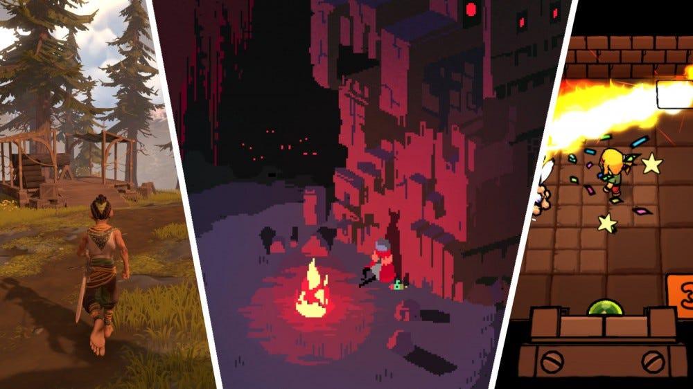 Screenshots of Pine, Hyper Light Drifter, and Ittle Dew 2+
