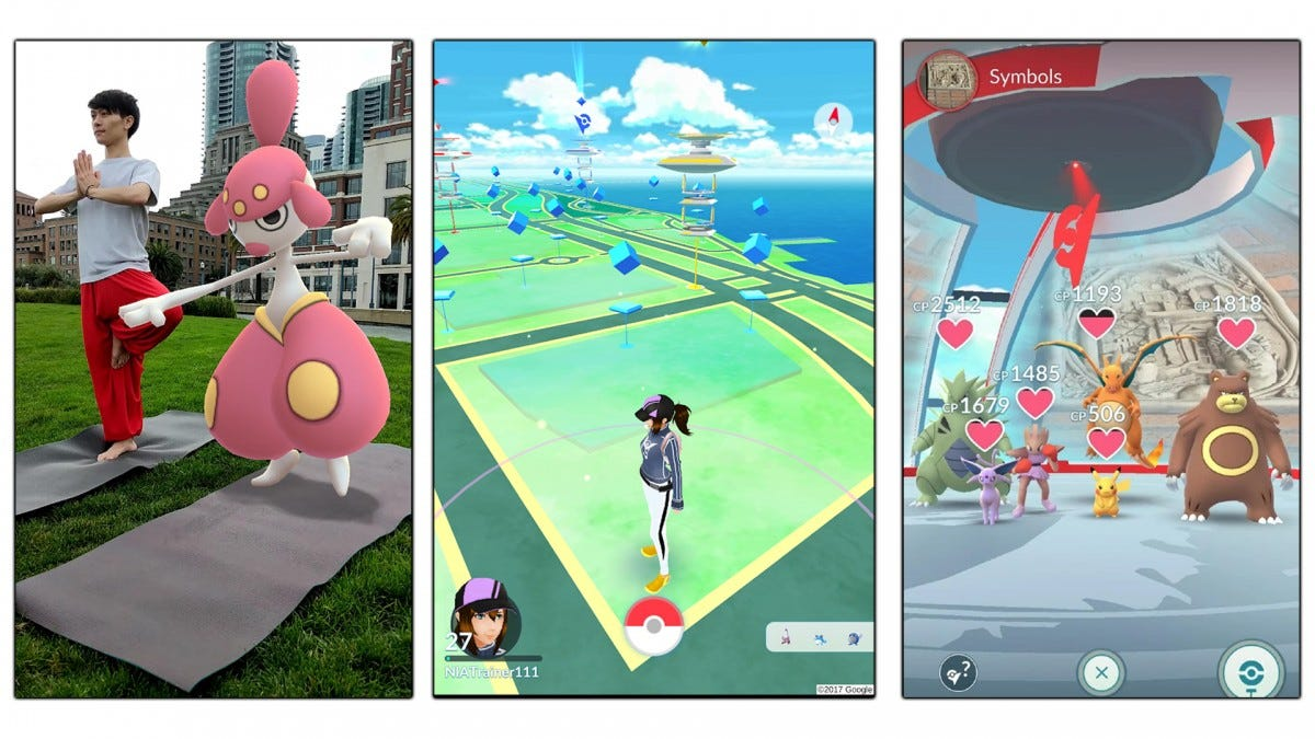 Screenshots showing Pokemon GO's camera features, map, and Pokemon teams