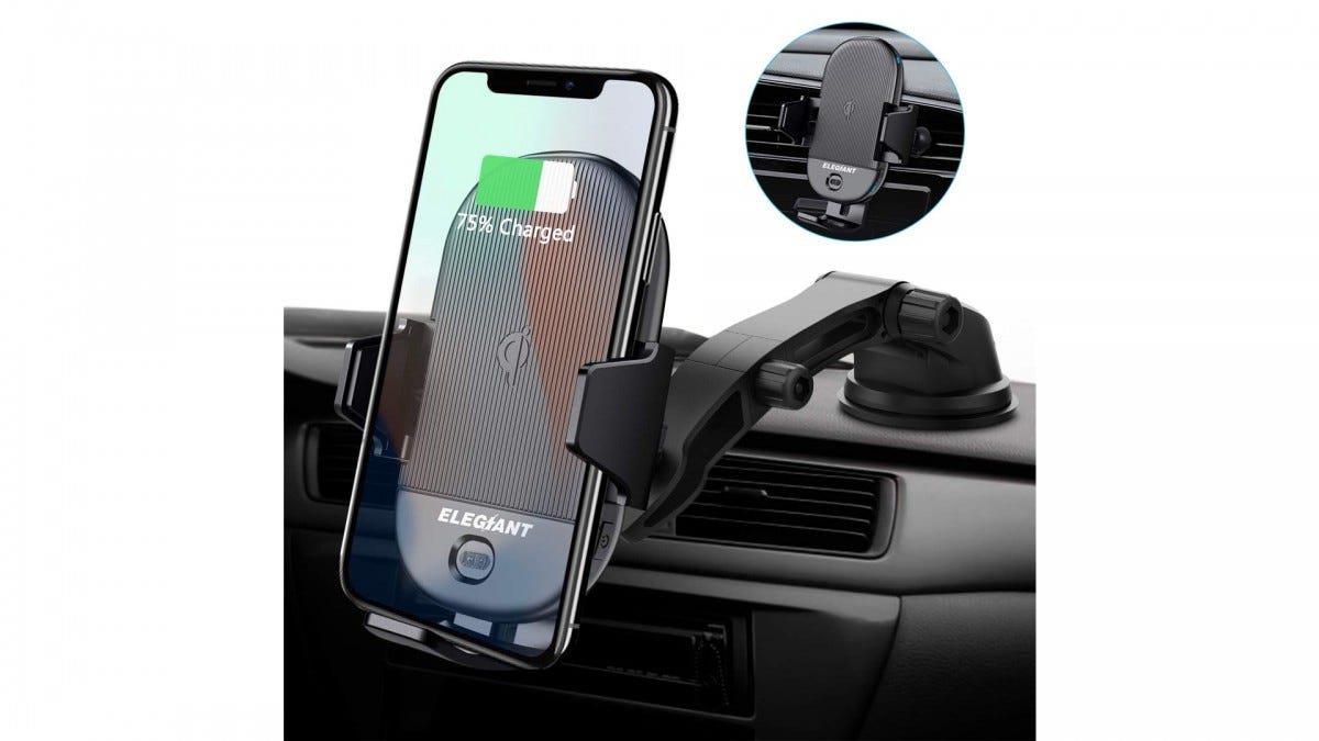 The ELEGIANT wireless charging car mount.