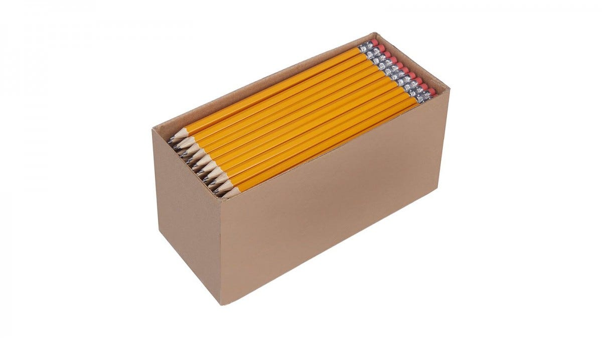 A large box of sharpened pencils.