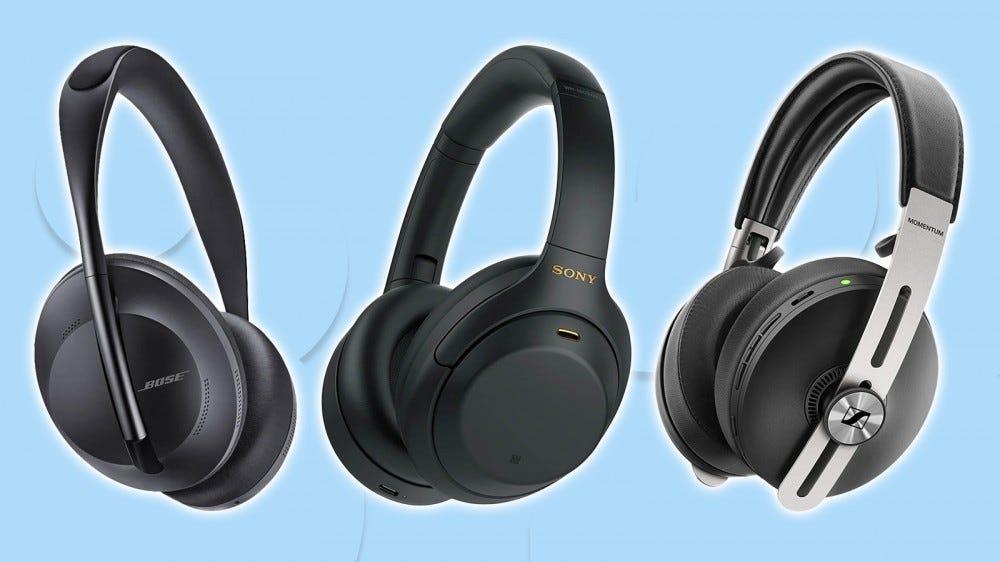 A photo of the Sony WH-1000XM4, Bose NC Headphones 700 and Sennheiser Momentum 3 headphones.