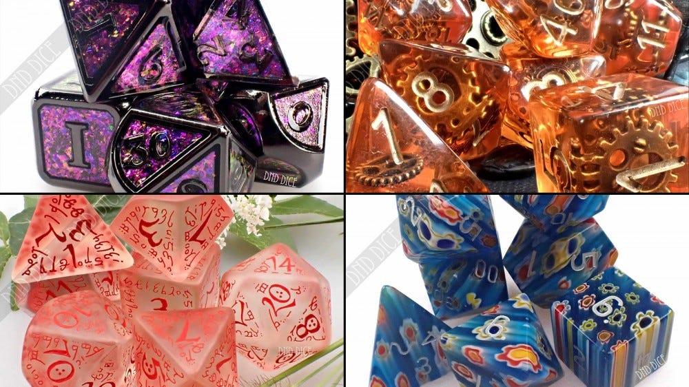 Четыре набора разноцветных кубиков от DnD Dice