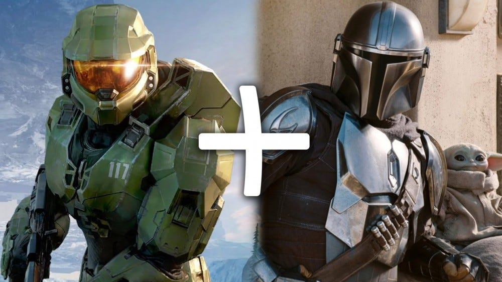 Xbox Master Chief plus Mandalorian and child