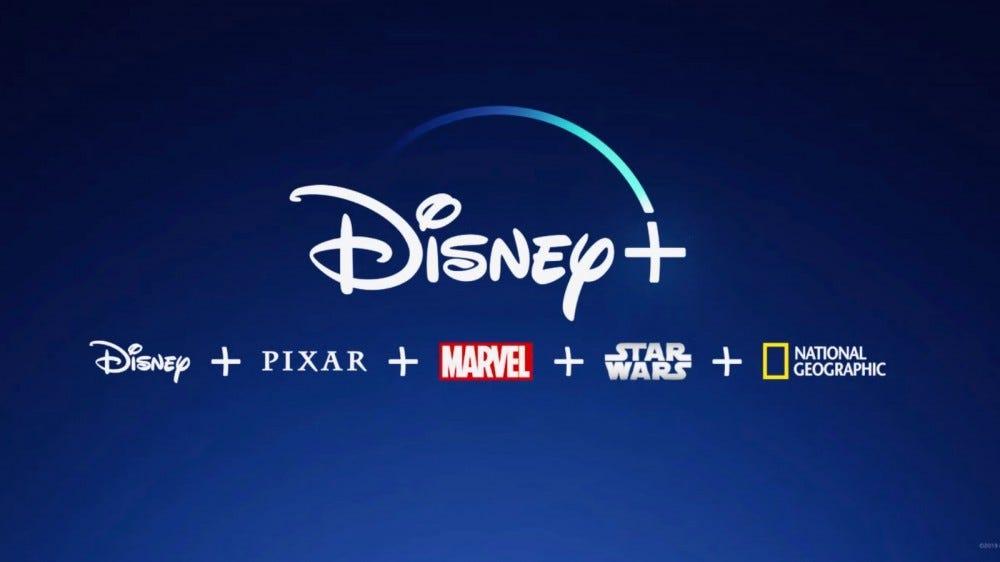 Disney+ Advertisement on blue gradient.