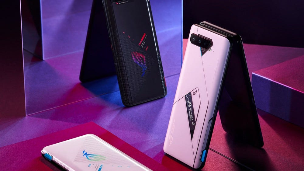 The backside of a ASUS ROG 5 Phone displaying a small OLED screen
