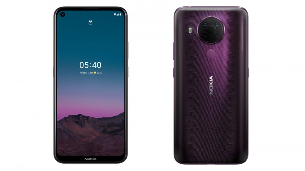 Front and back of the Nokia 5.4 smartphone