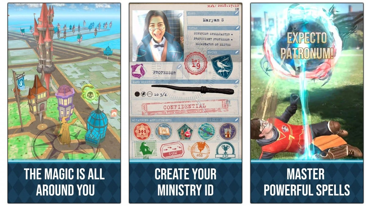 Screenshots of the Harry Potter Wizards Unite game. These screenshots show how spells can be cast and how players can build their own class ID.