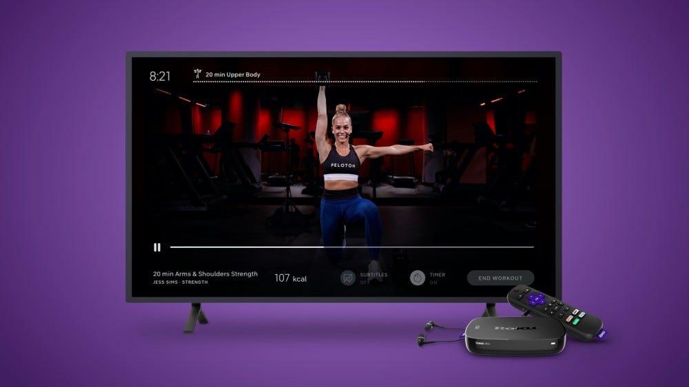 A Peleton exercise program on a Roku-enabled TV.
