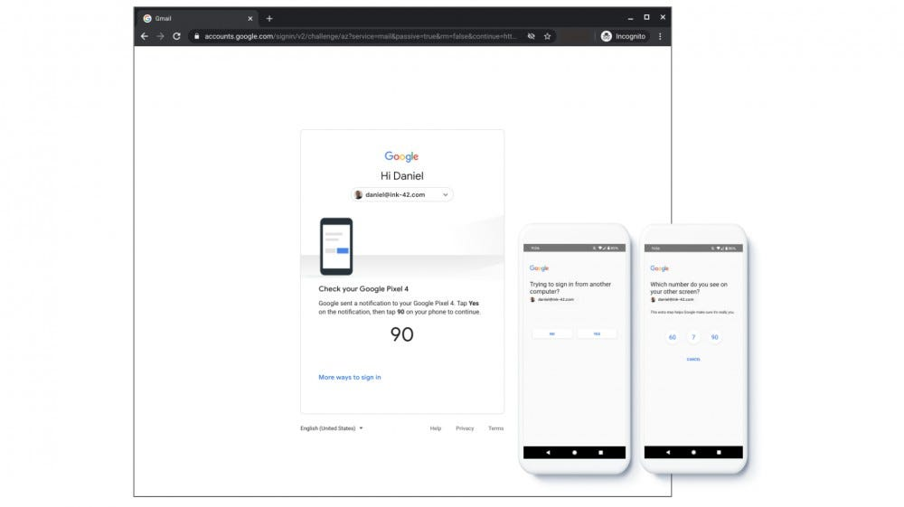 The Google 2FA prompt showing in a browser and on a phone