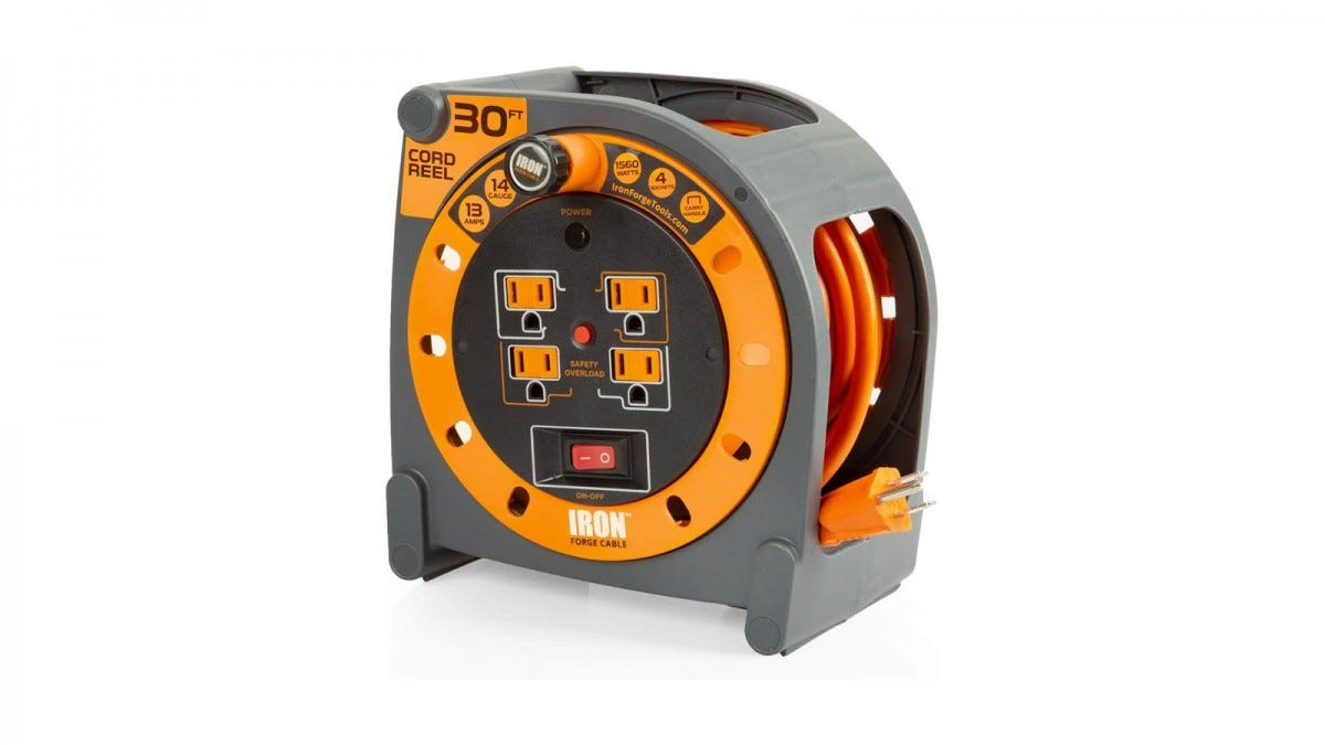 The orange and grey container with the 30-foot, orange extension cord reeled in and four outlets on its front.