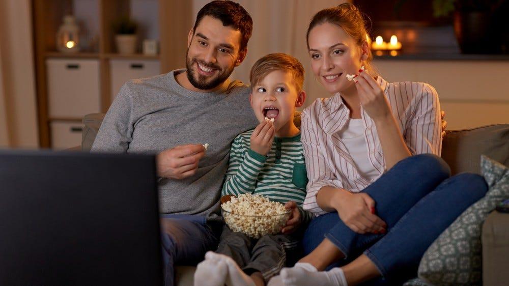 A family enjoying free TV!