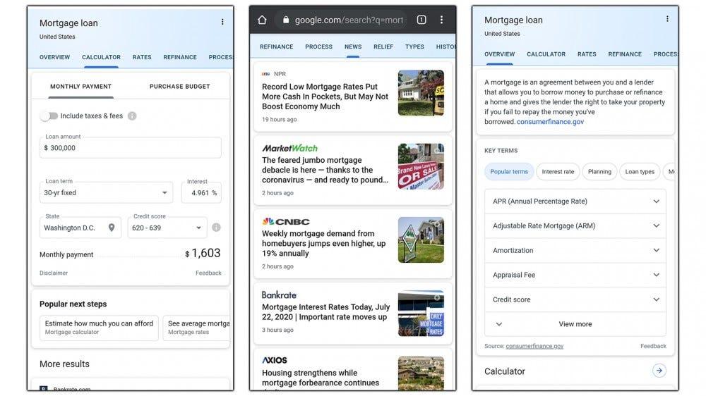 "Screenshots of Google's ""Mortgage"" information panel."