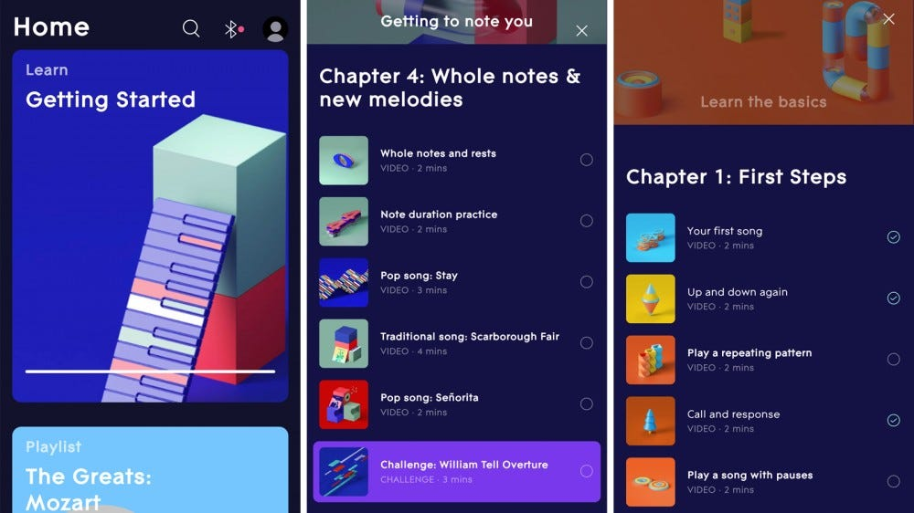 LUMI Keys companion app with lessons and songs