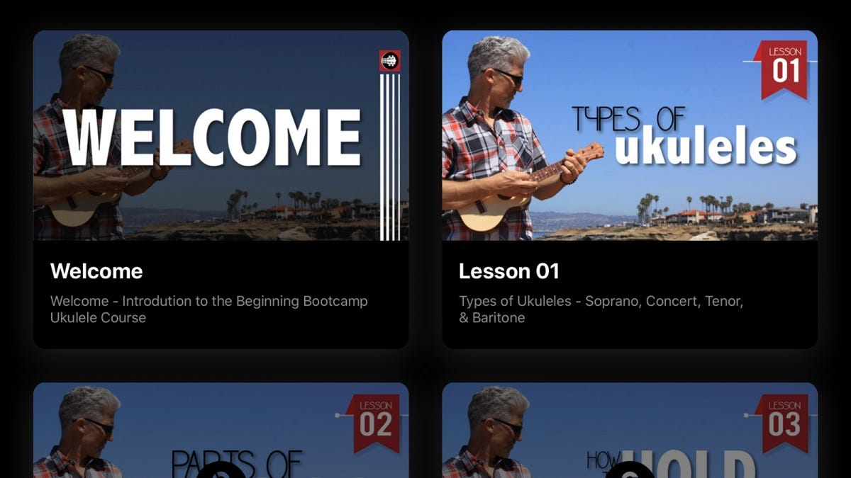The Uke Like The pros app with a welcome video and three basic lessons.