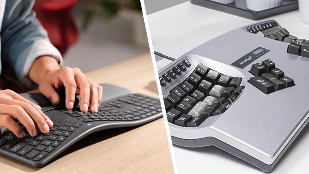 A Logitech K860 billentyűzetet és a Kinesis Advantage 2-t használó ember az asztalon nyugszik.