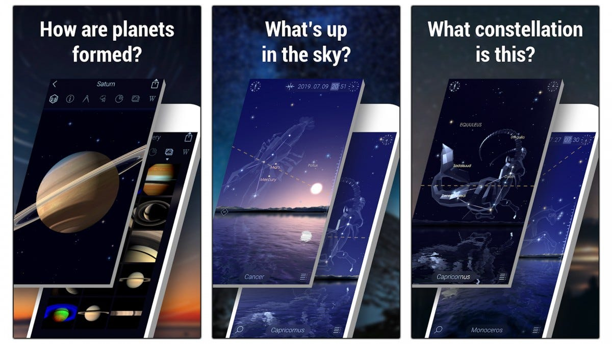 Screenshots of Star Walk 2 showing how constellations and planets can be viewed in AR.