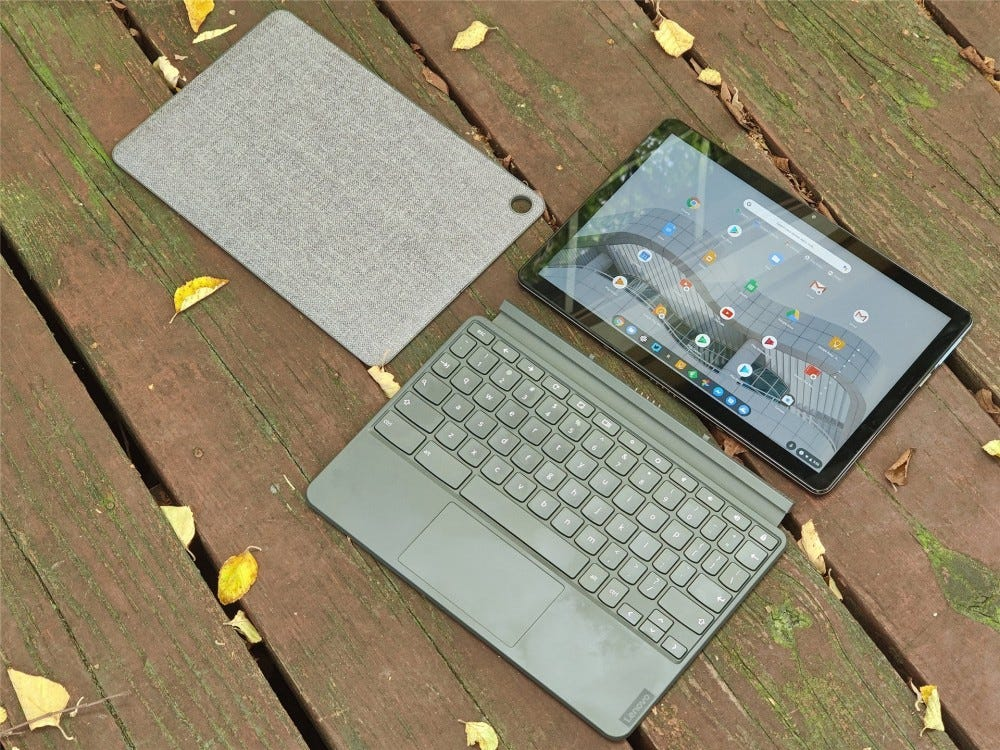 The IdeaPad Duet broken down into its three pieces