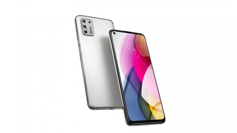 A silver Moto G Stylus Phone