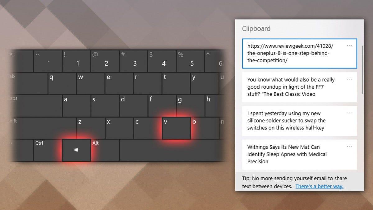Windows 10 clipboard history tool