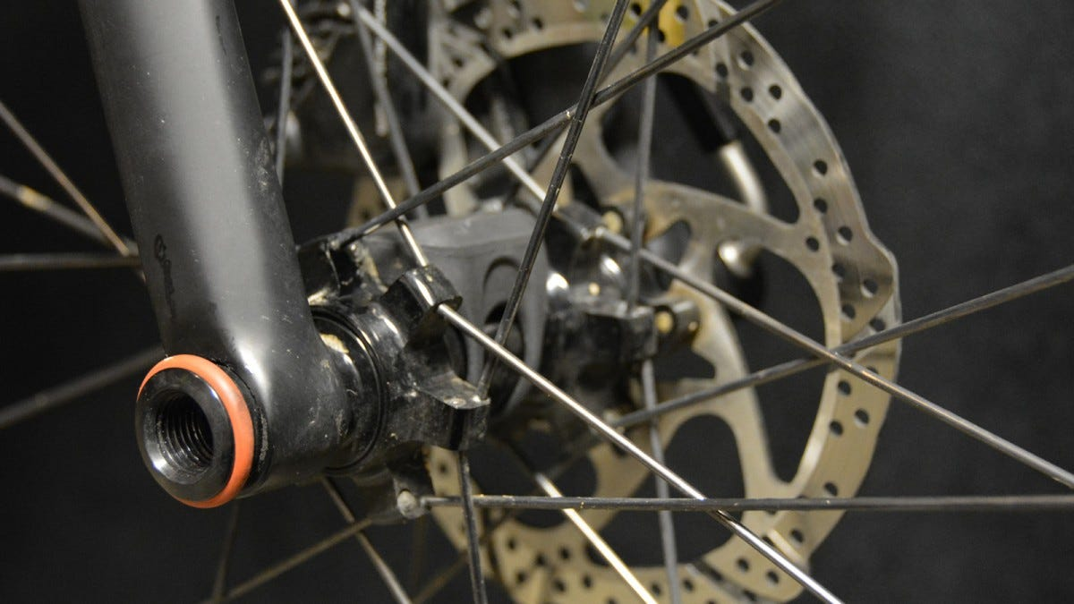 A disc brake on a bicycle.