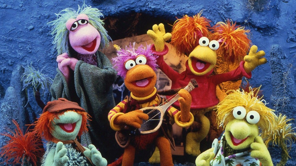 A photo of the Fraggle Rock cast.