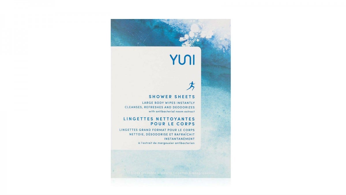 A box of YUNI Beauty Shower Sheets.