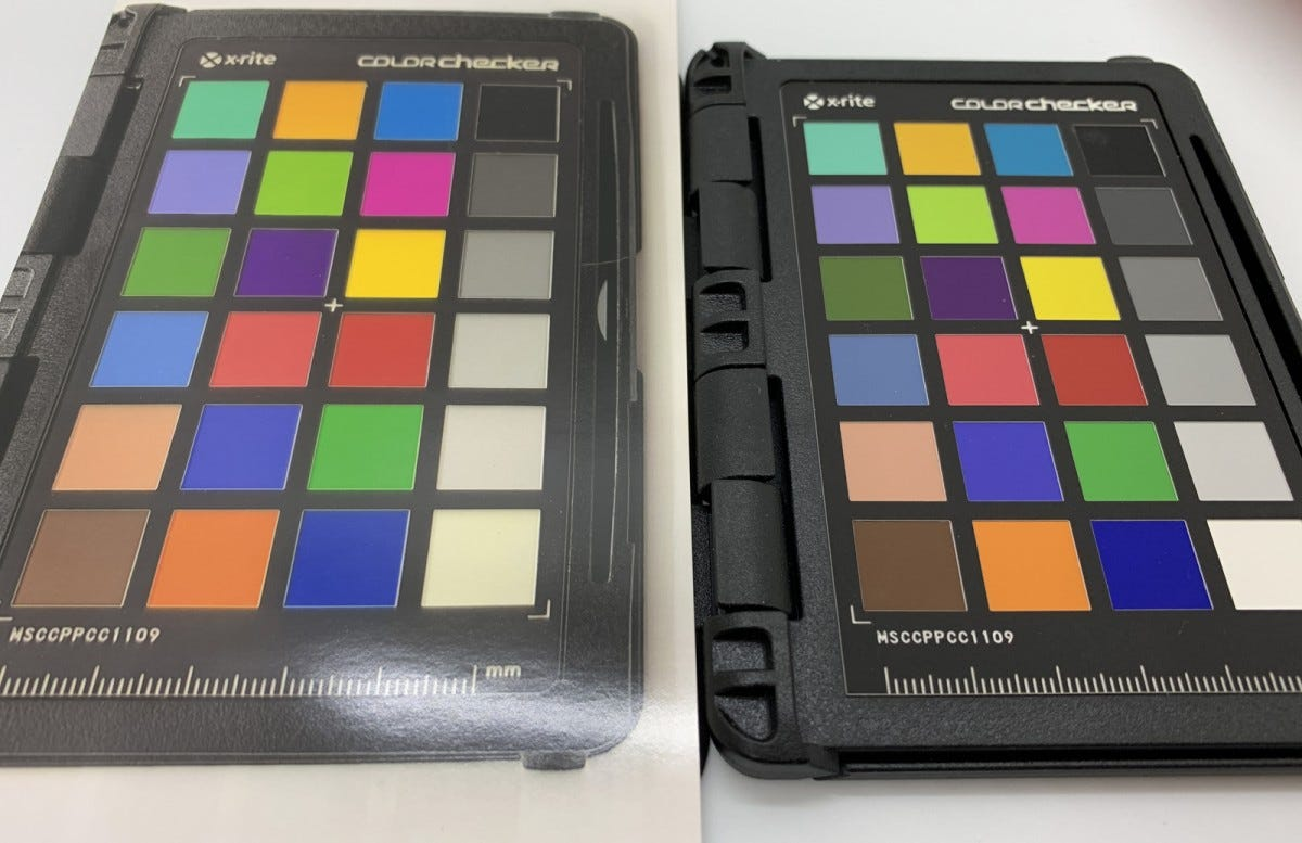 A photo of a Color Checker printed from the Sprocket Studio next to a Color Checker.