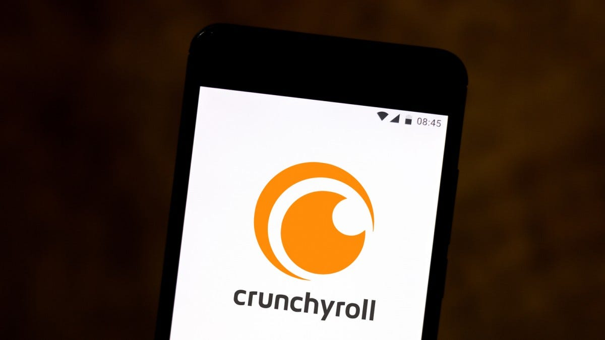 Crunchyroll logo on a phone