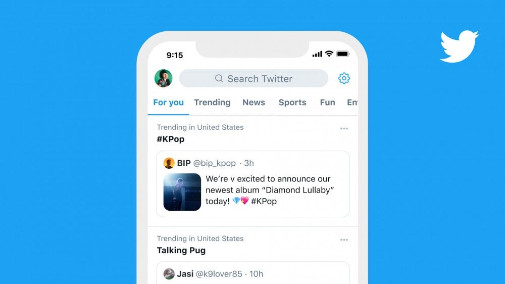 A Mockup of Twitter showing a trending section with a pinned tweet.