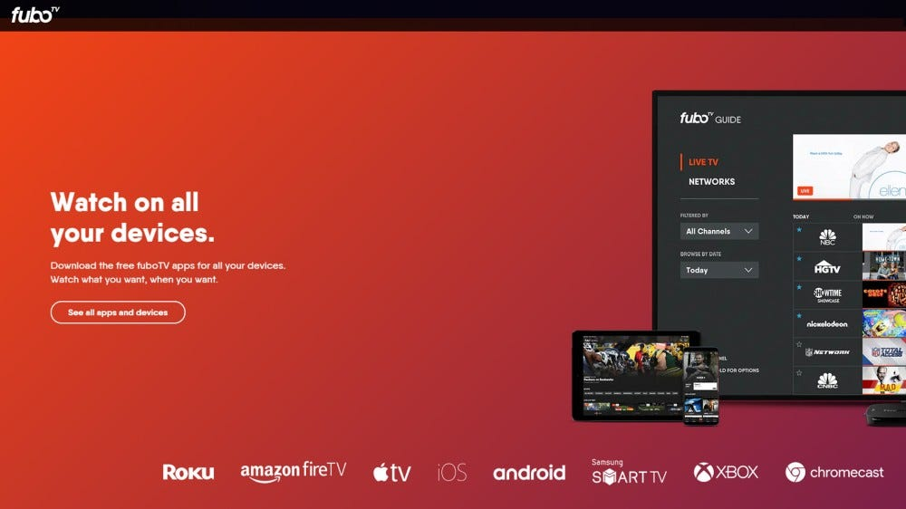 FuboTV home page with features and channel options