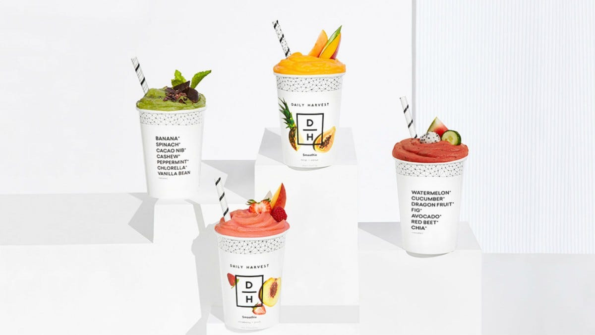 Four Daily Harvest Smoothies.