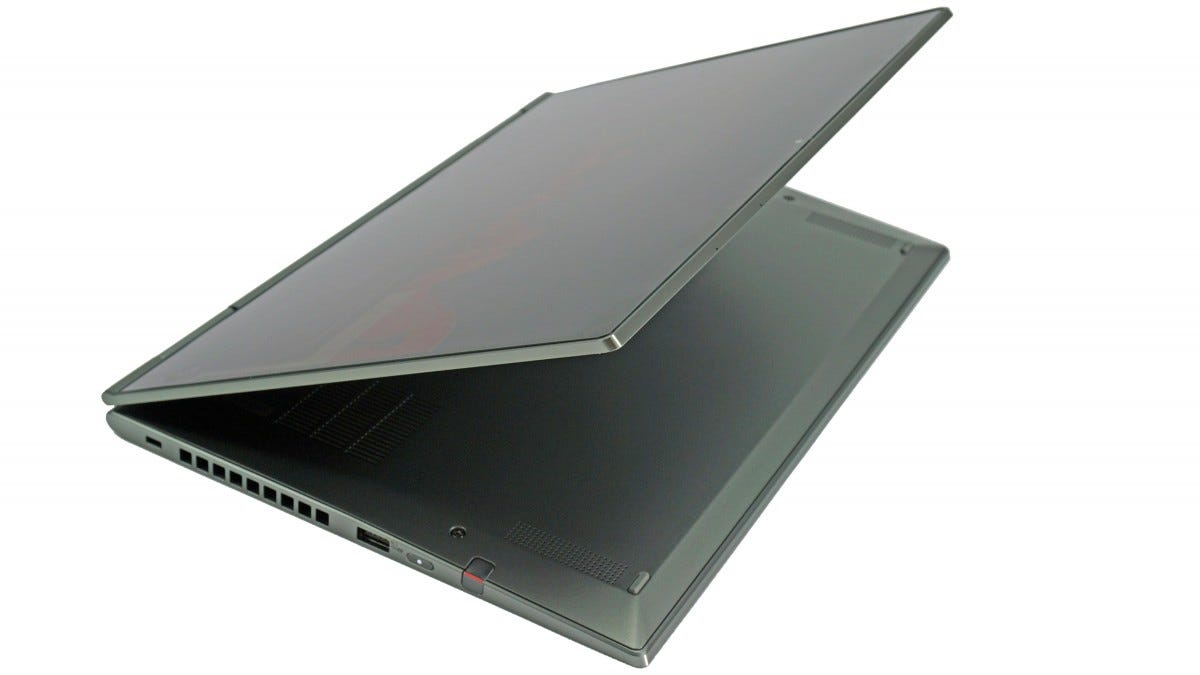 The X1 Yoga with the touch screen folded backward.