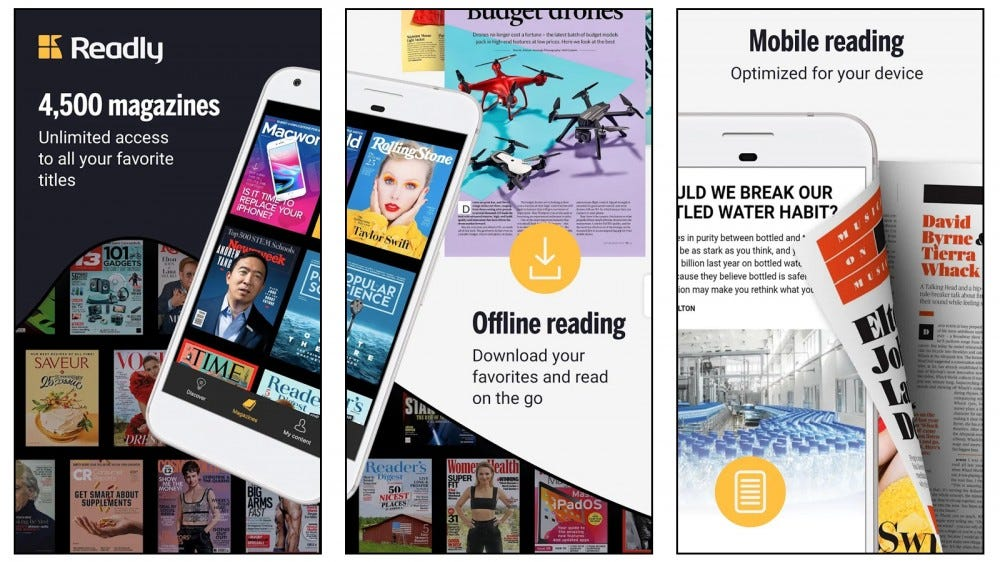 Readly app showing magazines with celebrity covers and offline reading options