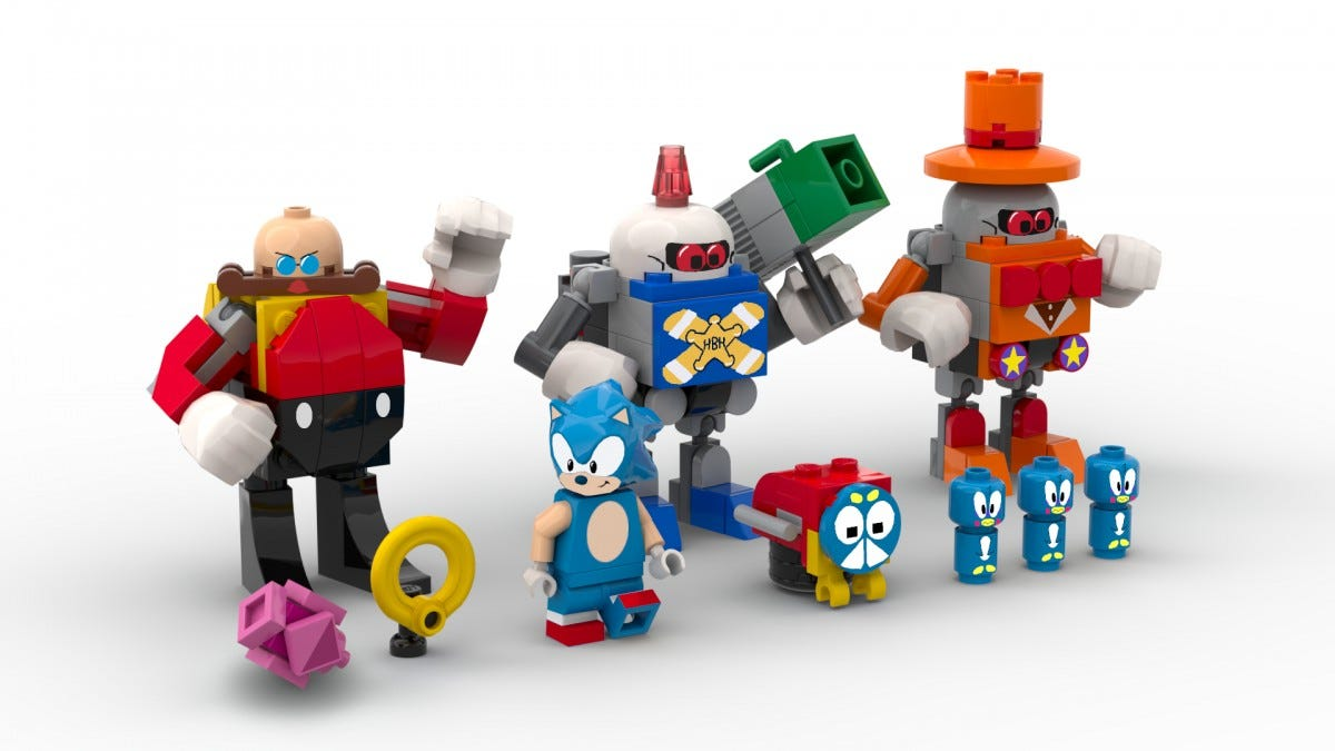 Several minifig mockups, including Sonic, Robotnik, and several game enemies.