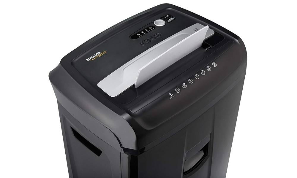The AmazonBasics 24-Sheet Cross-Cut Paper Shredder.
