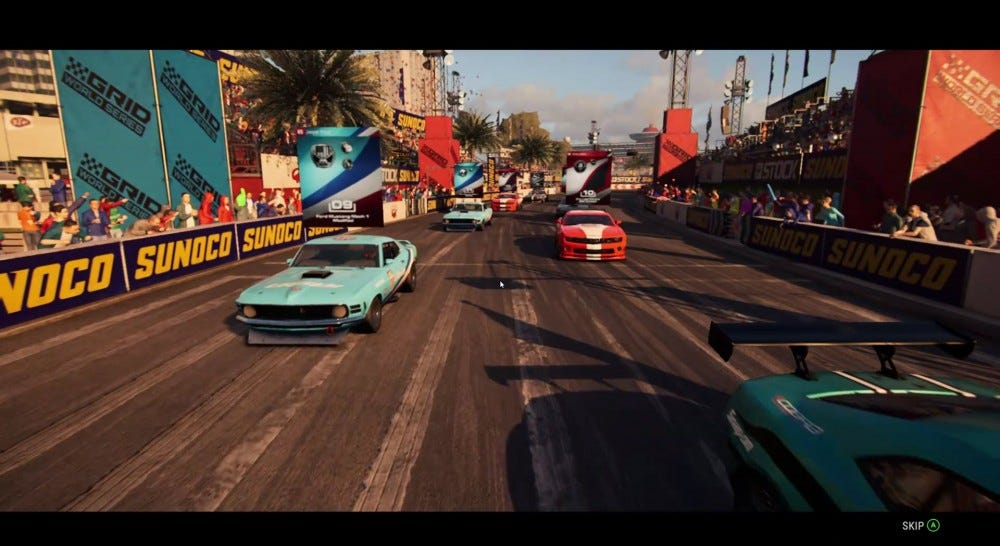 "A screenshot from the ""Grid"" racing game."
