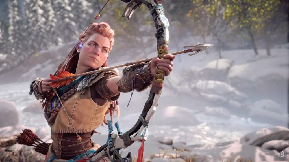 Aloy from 'Horizon Forbidden West' firing an arrow.