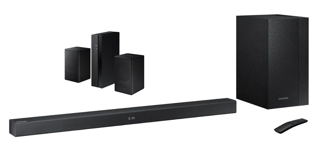 Samsung Series 3 soundbar with wireless rear speaker kit.