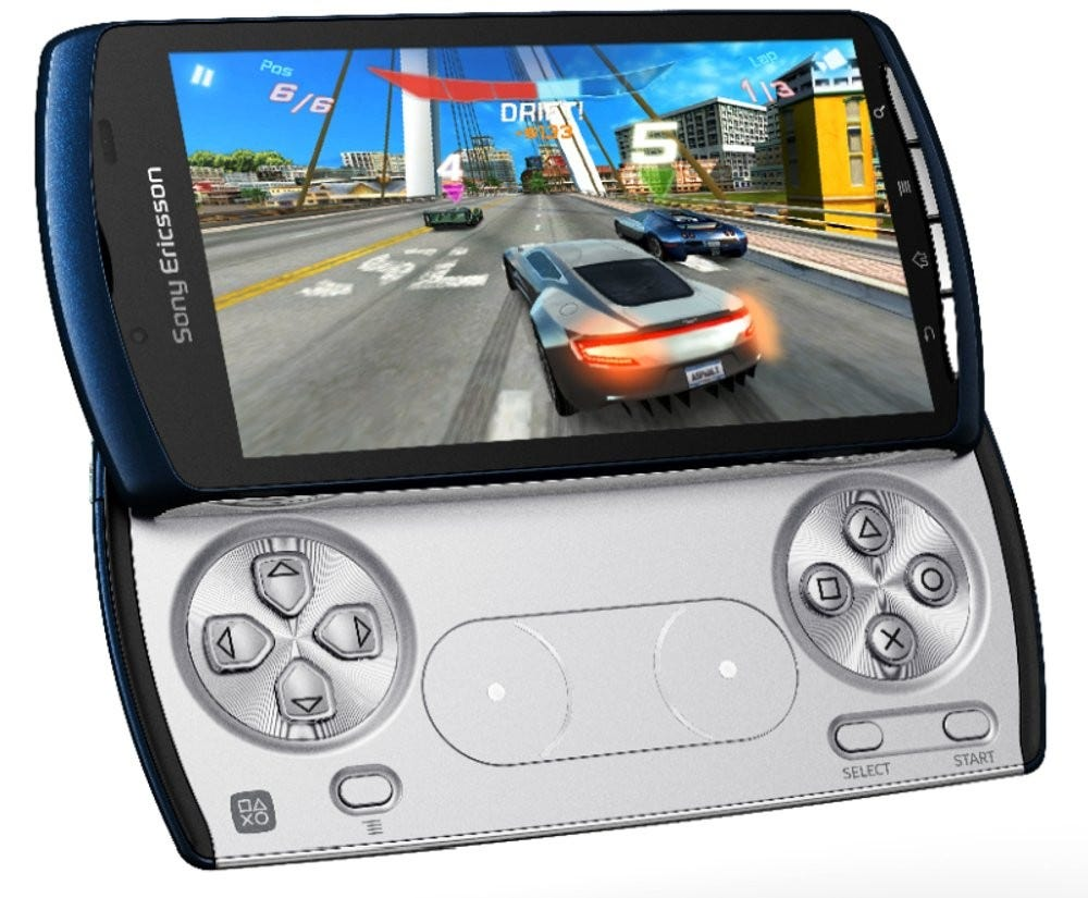The Xperia Play from 2011, complete with PlayStation-style game controls. They don't make 'em like this anymore.