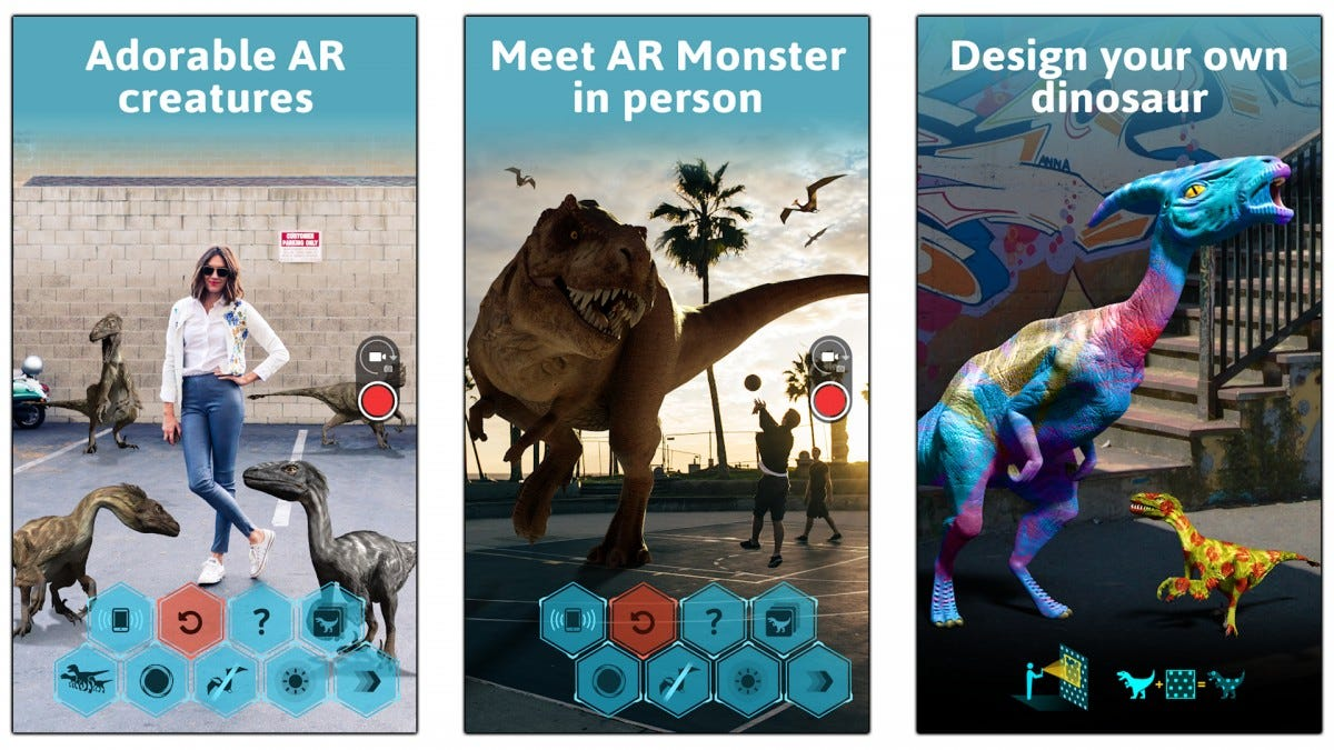 Screenshots of Dino Park AR showing how dinosaurs can be customized or posed for pictures.