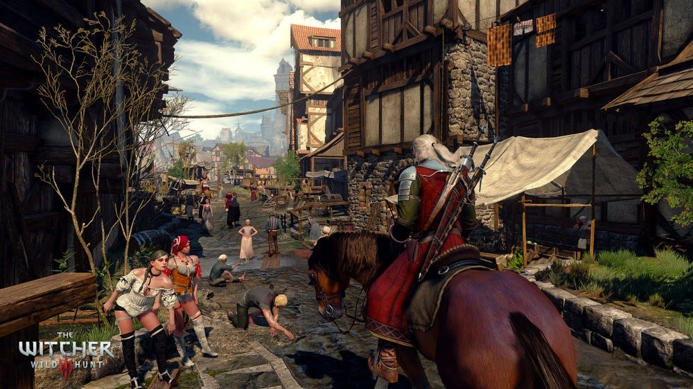 A screenshot from The Witcher III: Geralt rides his horse through a city