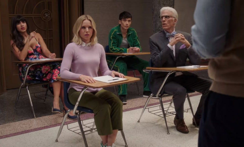 The Good Place Eleanor, Tahani, Jason, Michael