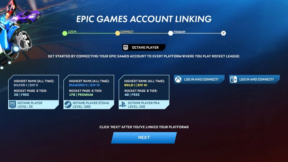 Rocket League account linking