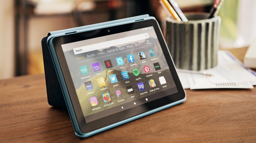 Fire HD 8 Tablet on a Table